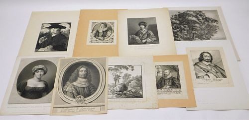 9PC Group of Early Landscape & Portrait Etchings