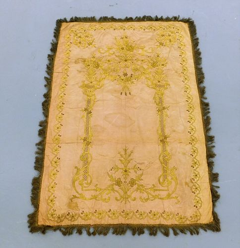 17C European Gold Thread Embroidered Tapestry