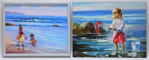 2PC Peggy Watkins Impressionist Beach Paintings