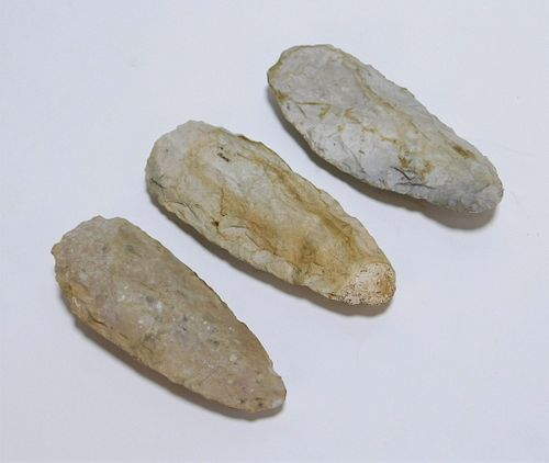 3PC Native American Carved Stone Arrowheads