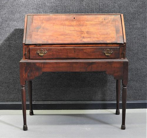 18C Tiger Maple NE Drop Front Desk on Stand