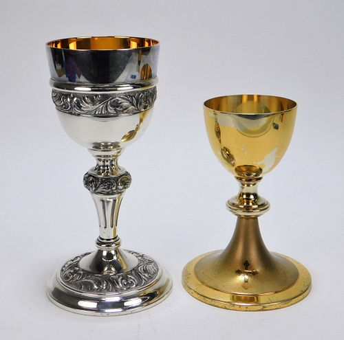 2PC Sterling Silver & Silver Plate Chalice Group