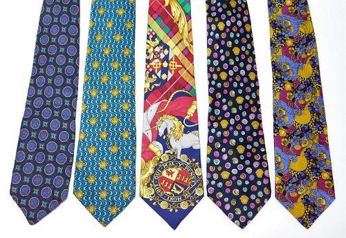 5PC Gianni Versace Assorted Silk Neckties