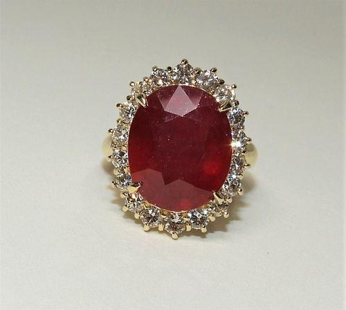 12.03ct Ruby Diamond & 14K Yellow Gold Lady's Ring