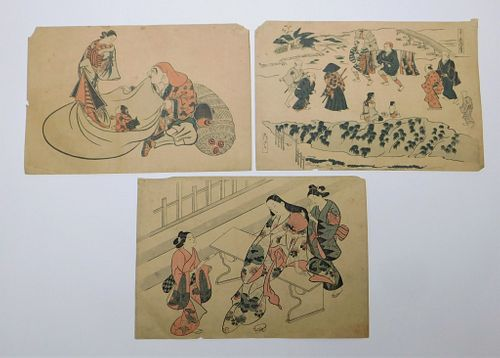 3PC Assorted Japanese Woodblock Prints