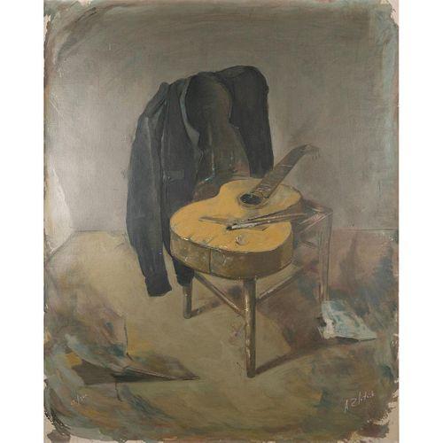 Alexandre Zlotnik, Draped Jacket & Guitar Framed Oil on Canvas