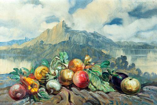 Antonio  Calcagnadoro (Rieti  1935-1976)  - Still life with mountain and lake in the background, 1932