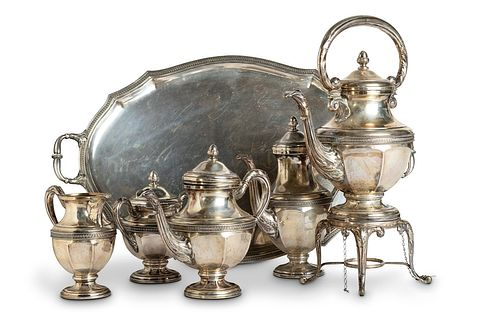 Silver service with samovar and tray, early 20th century