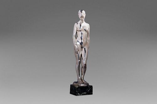 Francesco Parente (Napoli 1885-1969)  - Silver sculpture depicting a nude woman