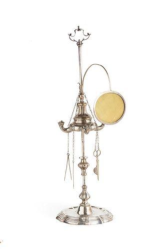 Roman oil lamp in silver, silversmiths Mattia Venturesi or Girolamo Francescoli, around 1770