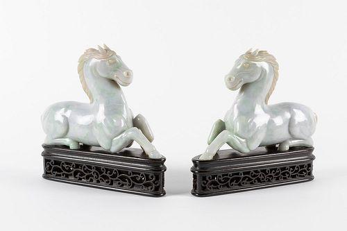 Two jadeite horses, China, early 20th century