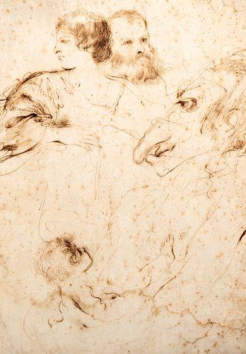 Attribuito a Giovanni Francesco Barbieri, detto il Guercino (Cento 1591-Bologna 1666) - Studies of figures and a caricature