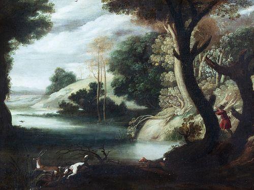 Pittore fiammingo attivo in Italia, fine del secolo XVI - inizi del secolo XVII - Landscape with deer hunting