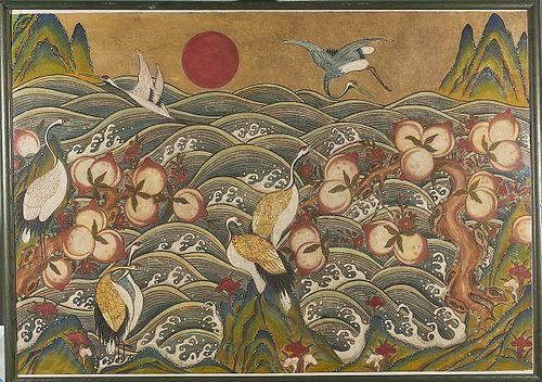 Large Korean Folk Painting on Paper