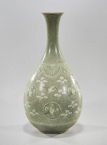 Korean Celadon Crackle Glazed Vase