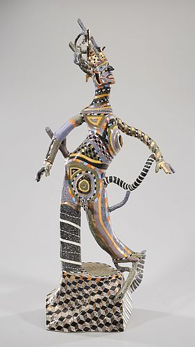 Polychrome Ceramic Sculpture by Ralph Bacerra