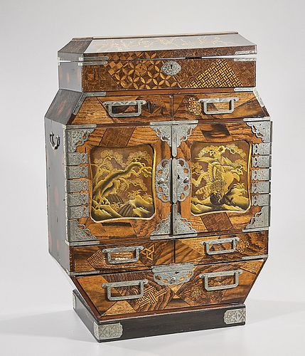 19th Century Japanese Lacquer and Parquetry Cabinet