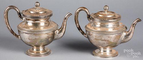 Two J.E. Caldwell sterling silver teapots