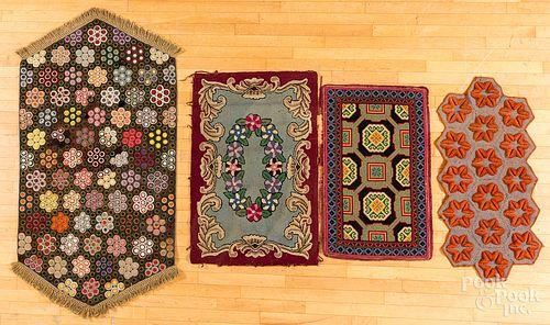 Felt penny rug and three small mats