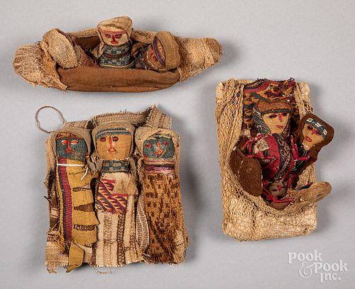 Three Chancay Pre-Columbian burial dolls, one of