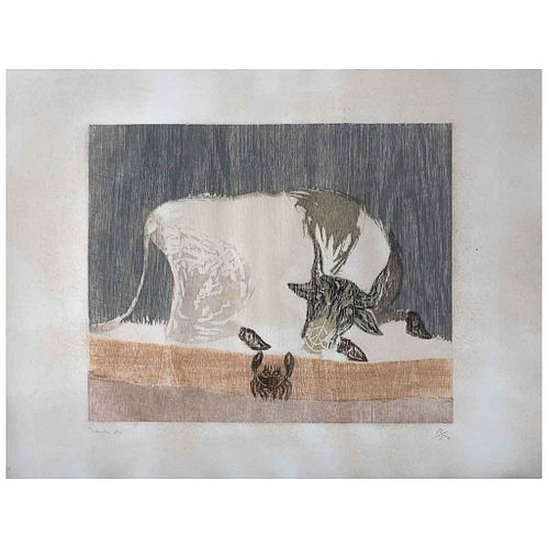 "FRANCISCO TOLEDO, Vaca y cangrejo, Signed, Woodcut 12 / 50, 16.9 x 22"" (43 x 56 cm)"