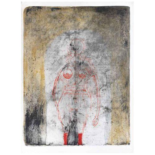 "RUFINO TAMAYO, Mujer en rojo, 1969, Signed, Lithograph P. A. XIV / XX, 27.4 x 21.4"" (69.7 x 54.5 cm)"