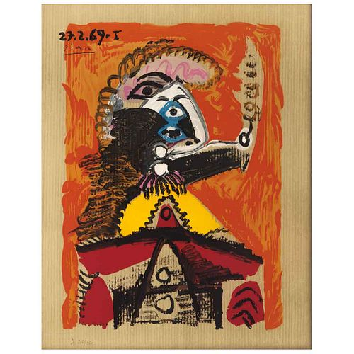"""PABLO PICASSO, From the binder Portraits Imaginaires, 1969, Signed and dated on plate 27.5.69, Lithograph 206/250, 24.4 x 19.2"""" (62 x 49 cm)"""