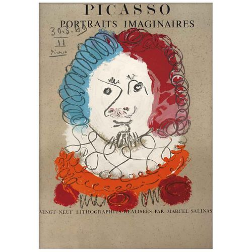"""PABLO PICASSO, From the binder Portraits Imaginaires, 1969, Signed and dated on plate 30.3.69, Lithograph without print number, 27.9 x 19.6"""" (71 x 50"""