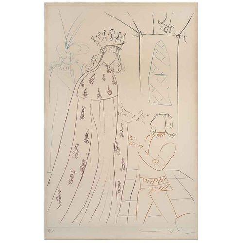 """SALVADOR DALÍ , L'Adoubement de Lancelot, from the binder La Quête du Graal, 1975, Signed, Engraving 3 / 249, 15.3 x 10.2"""" (39 x 26 cm)"""