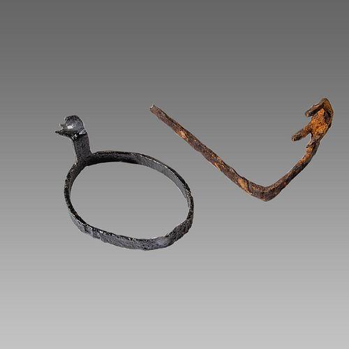 Lot of 2 English Vicking, Iron Key and Ring c.11th century.