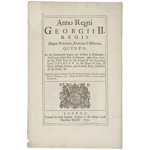 1732, British Debt Act Colonies in America Regarding Lands, Houses, Negroes...