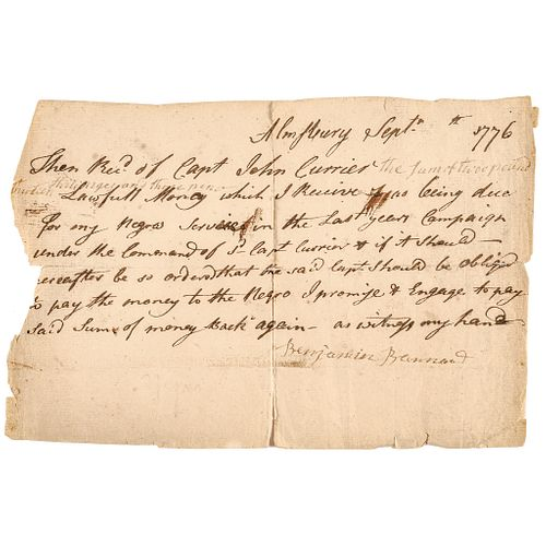 Negro American Revolutionary War Pay Receipt for Service for Capt John Currier