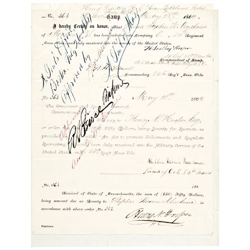 1864 Enlistment In The Famous Black MASS 54th Infantry Bounty Payment Cert.