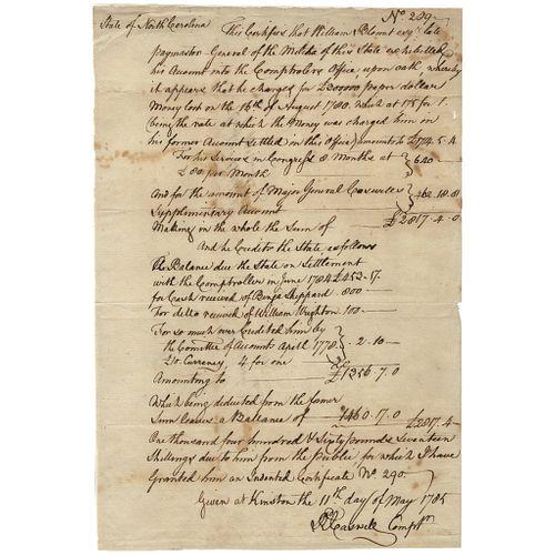 MAJOR GENERAL RICHARD CASWELL + WILLIAM BLOUNT North Carolina Financial Document