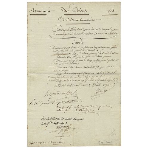 1778 Revolutionary War French Admiral FRANCOIS JOSEPH PAUL DE GRASSE Signed