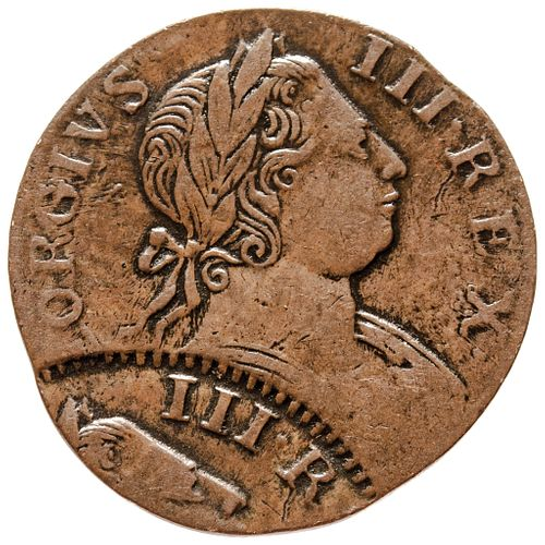 1774 Counterfeit British Halfpenny, Choice Extremely Fine, DOUBLE STRUCK.