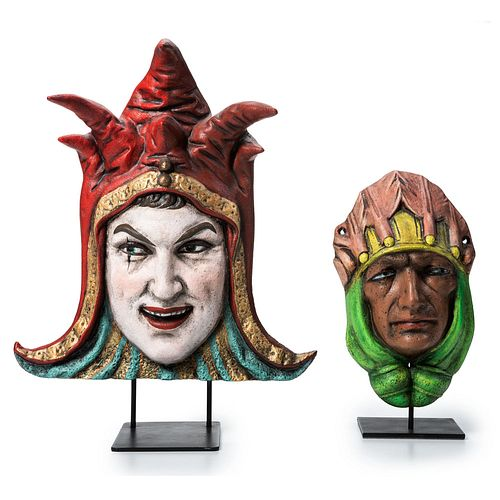 Two Paint Decorated Cast Iron Carousel Masks: Jester and Mind Reader