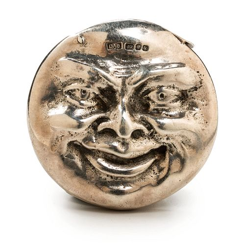 An English Silver Double-Sided Moon Face Match Safe