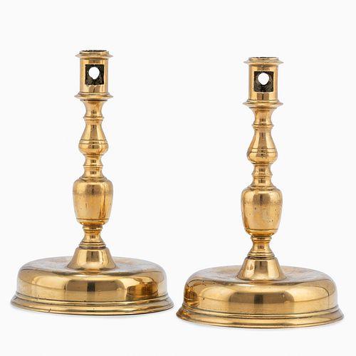A Pair of Continental Brass Candlesticks, Circa 1680