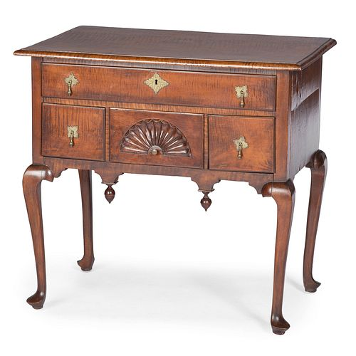 A Queen Anne Fan-Carved Tiger Maple Dressing Table, Likely Massachusetts, Circa 1750