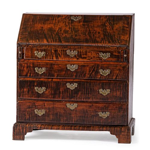A Chippendale Figured Maple Slant Front Desk, New England