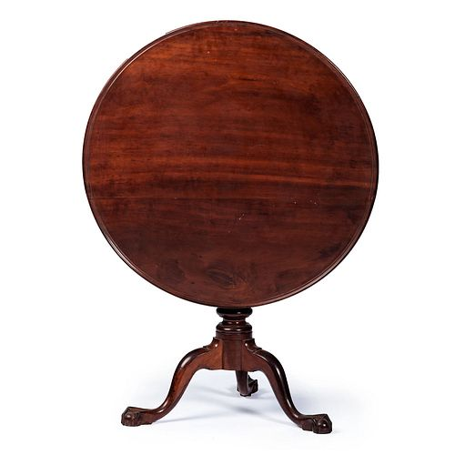 A Chippendale Cherrywood Ball-and-Claw Tilt-Top and Dish-Top Tea Table, Likely Pennsylvania, 18th Century with alteration