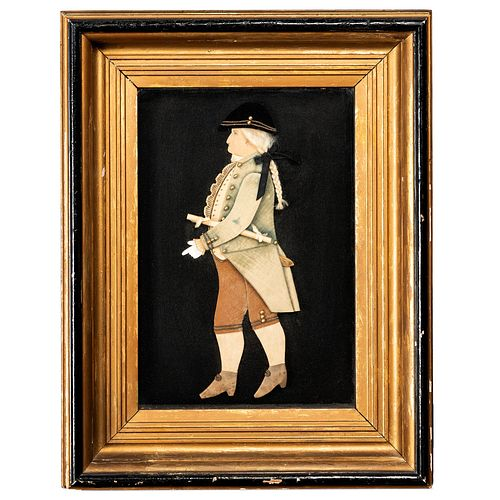 An American Fabric, Paper and Brass Three Dimensional Full Length Profile Portrait of George Washington