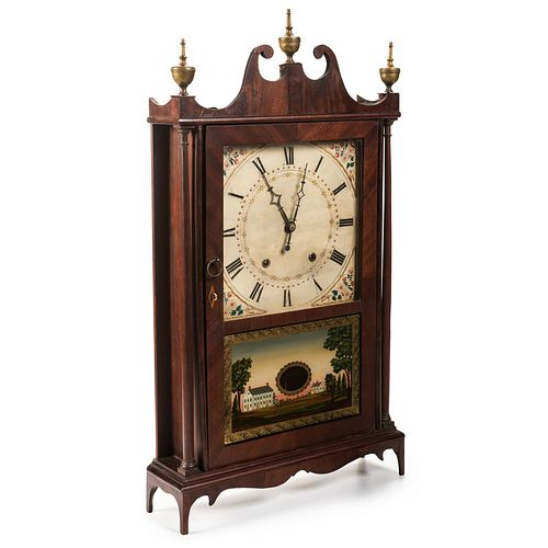 A Federal Eli Terry & Sons Pillar and Scroll Mantel Clock in Mahogany