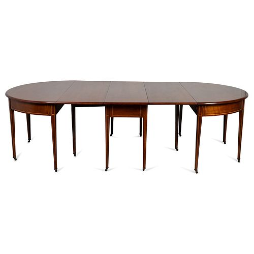 A Federal Inlaid Cherrywood Three-Part Dining Table, Likely Mid-Atlantic States, Circa 1810