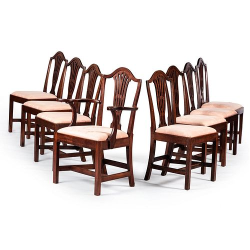 A Matched Set of Eight Federal Carved Cherrywood Dining Chairs, manner of Elijah Booth, Woodbury, Connecticut, Circa 1790