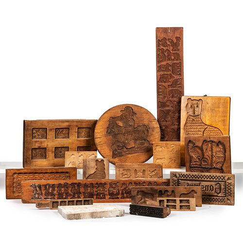 Sixteen Carved Wood Butter Molds