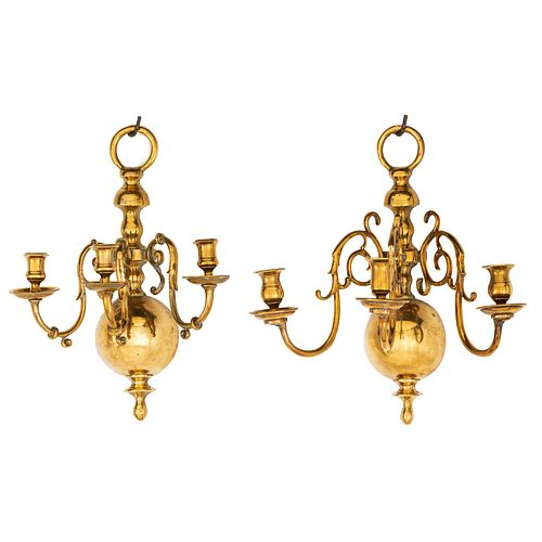 A Pair of Brass Three-Light Scones