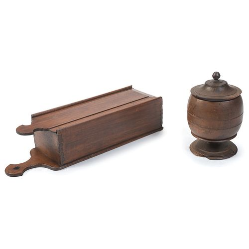 A Turned Wood Canister and Slide Lid Candle Box