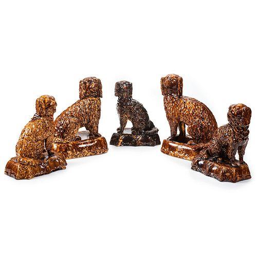Five Rockingham Glaze Pottery Spaniels